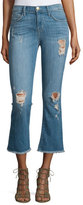 Current/Elliott The Kick Flare-Leg Cropped Jeans, Blue Ocean Destroy