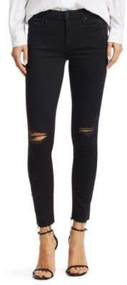 Mother The Looker Distressed Ankle-Fray Skinny Jeans