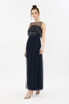 Coast Sequin Tulle Frill Bodice Maxi Dress