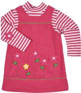 Florence Eiseman Floral Corduroy Dress w/ Striped Tee, Fuchsia, Size 2-6X