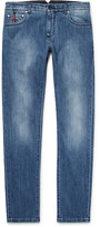 Isaia Slim-fit Selvedge Stretch-denim Jeans - Blue