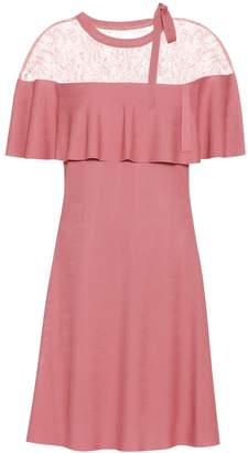 Valentino Lace-trimmed crepe dress