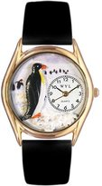 Whimsical Watches Kids' C0140010 Classic Gold Penguin Black Leather And Goldtone Watch
