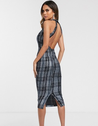 ASOS DESIGN glitter check pencil midi dress with back knot detail