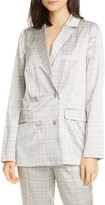 CAMI NYC The Pacey Glen Plaid Silk Satin Blazer