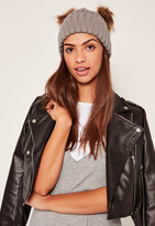 Missguided Grey Double Pom Pom Beanie