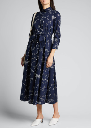 Carolina Herrera Dog Print Poplin Shirtdress