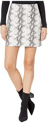 Cupcakes And Cashmere Ramona High-Waist Snake Faux Leather Skirt (White) Women's Skirt