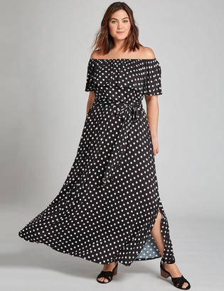 Lane Bryant Convertible Off-The-Shoulder Maxi Dress - Printed