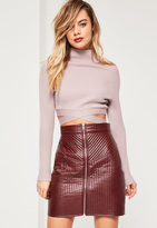 Missguided Purple Tie Waist Basic Cropped Sweater