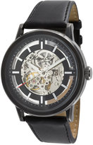 Kenneth Cole New York Watch, Men's Automatic Skeleton Dial Black Leather Strap KC1632
