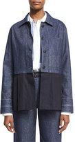 Elizabeth and James York Chambray Button-Front Jacket, Indigo