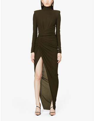 Alexandre Vauthier High-neck woven maxi dress