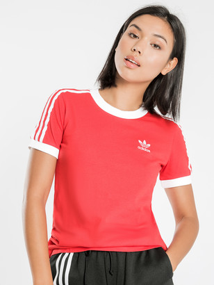 adidas 3-Stripes Crew Neck Short Sleeve T-Shirt in Lush Red