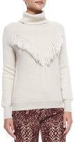 Haute Hippie Long-Sleeve Fringe-Detail Sweater, Oatmeal