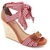 Envy Matey Women Open Toe Leather Red Wedge Sandal.