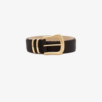 Black & Brown brown Marina lizard effect leather belt