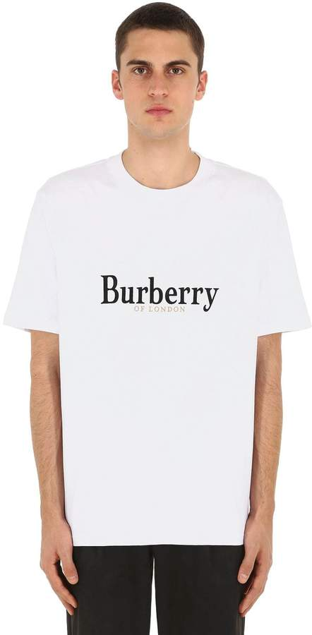 Burberry Embroidered Cotton Jersey T-Shirt