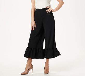 Du Jour Regular Wide Leg Knit Crop Pants with Ruffle Hem