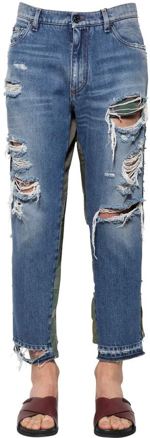 Dolce & Gabbana Distressed & Patchwork Cotton Jeans