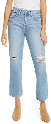 Trave Riley '90s Ripped High Waist Ankle Straight Leg Jeans