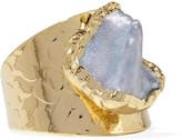 Dara Ettinger Gold-tone freshwater pearl ring