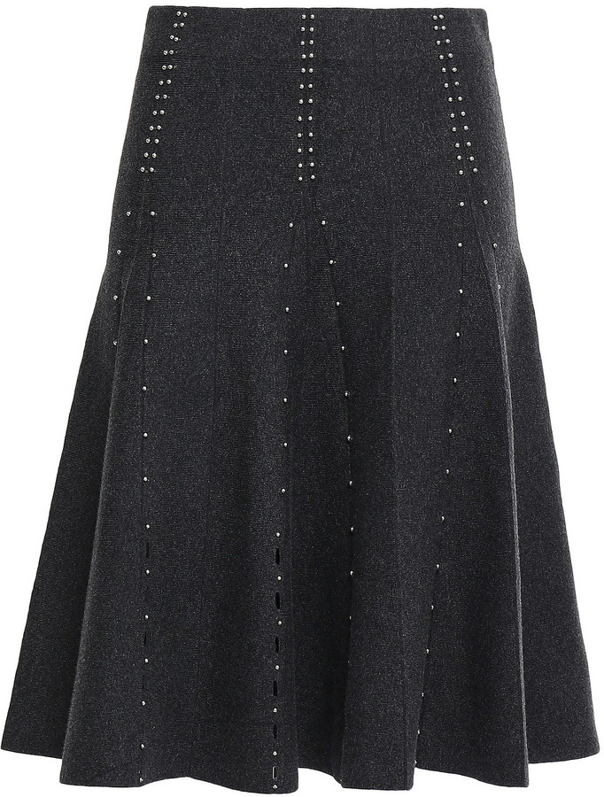 Sandro Pleated Lattice-trimmed Studded Stretch-knit Skirt