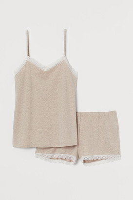 H&M Pajama Camisole Top and Shorts - Brown