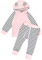 TONSEE 2pcs Newborn Infant Baby Boys Girls Hooded Stripe Tops+Pants (6Months)