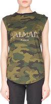 Balmain Camo Logo Muscle Tee, Green Pattern