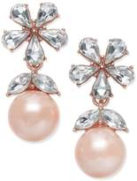 Charter Club Crystal and Imitation Pearl Drop Earrings, Created for Macy's