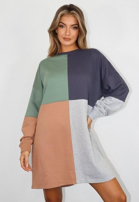 Missguided Sage Color Block Oversized Sweater Dress
