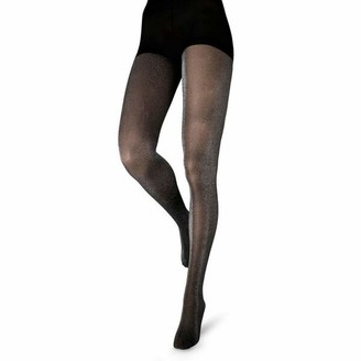Couture Womens/Ladies Glitter Opaque Tights (1 Pair) (36-42 Inch) (Black)