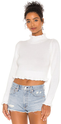 525 America Cropped Ruffle Mock Neck Sweater