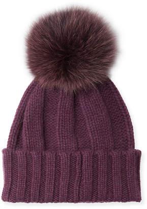 Raffaello Bettini Knit Cashmere Beanie Hat w/ Fur Pompom