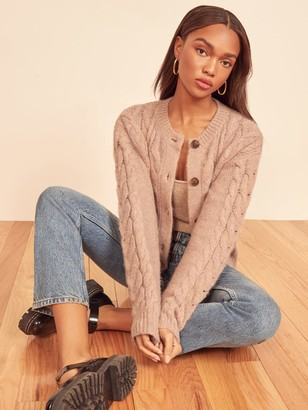 Reformation Lemartine Cable Knit Cardigan