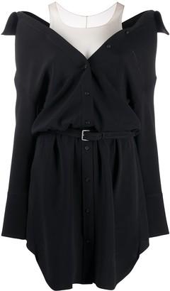 Alexander Wang Off The Shoulder Silk Shirt Dress