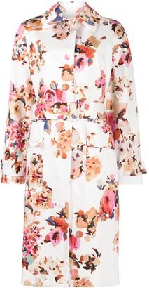 MSGM Floral-Print Belted Coat
