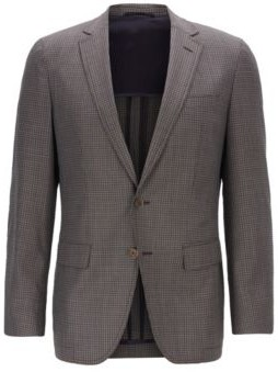 Slim-fit blazer in checked wool with elbow patches