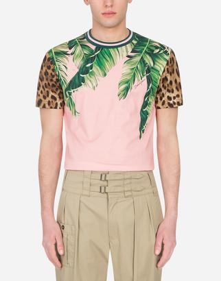 Dolce & Gabbana Cotton T-Shirt In Banana Leaf Print