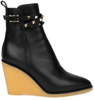Valentino Rockstud Leather Wedge Boots