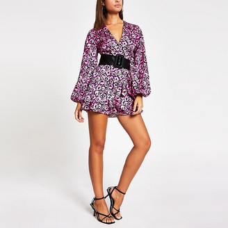 River Island Pink floral balloon sleeve V neck playsuit