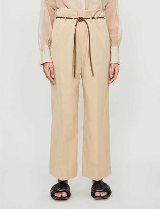 Brunello Cucinelli Tie-belt wide-leg high-rise cotton trousers