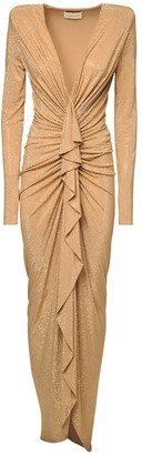 Alexandre Vauthier Draped Micro Studded Jersey Dress