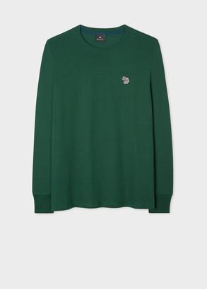 Paul Smith Men's Green Organic-Cotton Zebra Logo Long-Sleeve T-Shirt