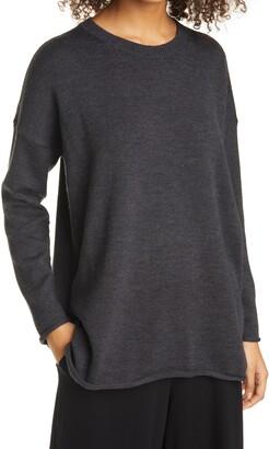Eileen Fisher Crewneck Merino Wool Tunic Sweater