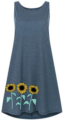 Instant Message Women's Women's Casual Dresses HEATHER - Heather Blue Sunflower Row Shift Dress - Women