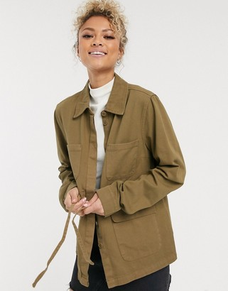 Pieces utility jacket with tie waist in khaki
