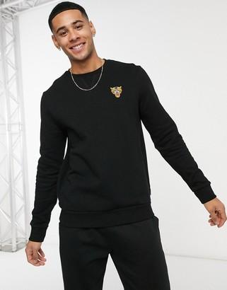 Burton Menswear crew neck embroidered sweatshirt in black