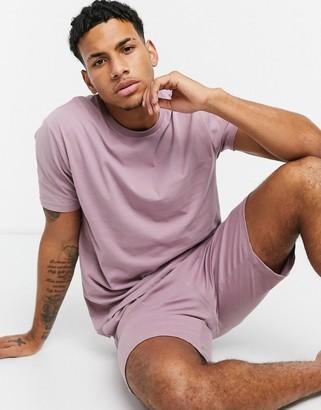 ASOS DESIGN lounge t-shirt and short pyjama set in purple